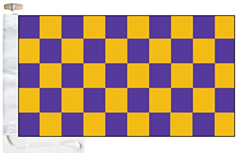 Chequered Purple and Gold Check Boat Flag - 1 Yard  - Rope a