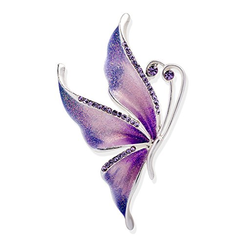 (Silver Plated Butterfly Swarovski Crystal Rhinestones Enamel Paint Brooch Pin Jewelry for Women Girls)