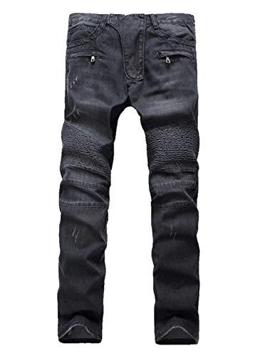 Lavados Jeans Jeans Bolsillos Faltig Ripped Joven Pantalones Pantalones Biker Cierre De Mezclilla Moto Negro Mezclilla Casual De Slim Fit TwrvRzqT