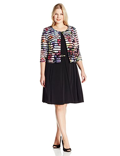 Jessica Howard Women's Plus-Size Stripe Jacket Dress 3/4 Sleeve, Multi, 16W