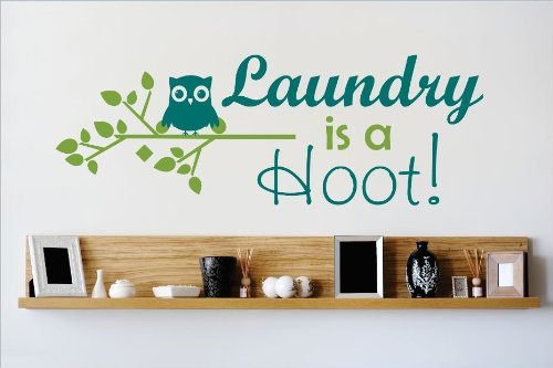 Design with Vinyl OMG 525 As Seen Laundry Is A Hoot Quote Lettering Decal Home Decor Kitchen Living Room Bathroom, 12x30-Inch, As Seen by Design with Vinyl B00J6F15QI