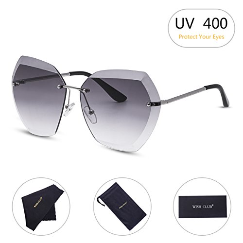 WISH CLUB Oversized Fashion Rimless Sunglasses for Women Hexagonal Flat Lens Frameless Rimmed Eyewear for Girls UV Glasses Transparent (Gray) - Photo Lenses Gray