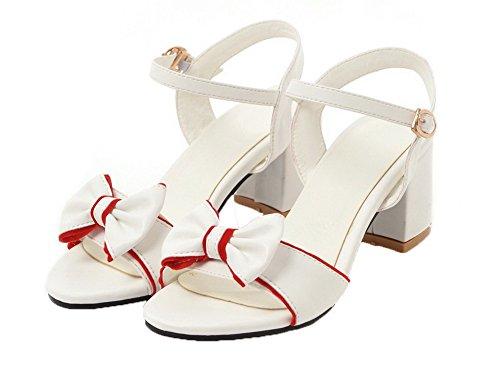 Toe Sandals Heels Kitten Pu Women VogueZone009 Solid Buckle CCALP014781 White Open Ut8Xwnq
