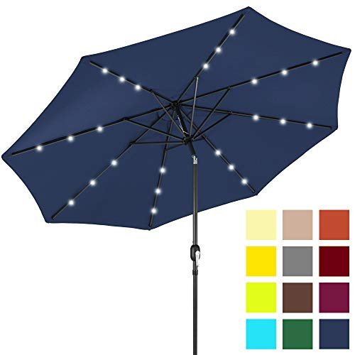 Best Choice Products 10-Foot Solar Powered Aluminum Polyester LED Lighted Patio Umbrella with Tilt Adjustment and Fade-Resistant Fabric, Navy Blue (Deck Costco Umbrella)