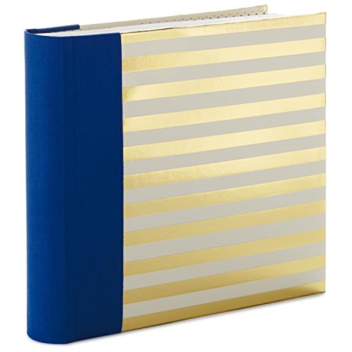 Blue and Gold Stripes Preppy Photo Album Photo Albums Family