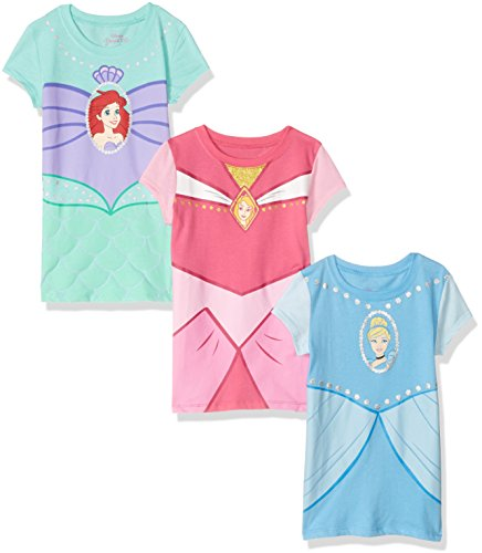 (Disney Little Girls' Toddler Princesses Cinderella, Aurora, Ariel 3-Pack Costume T-Shirt Bundle, Light Blue/Pink/Teal,)