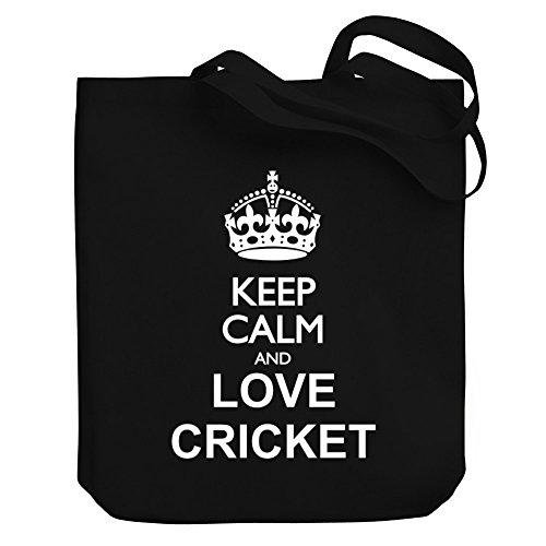 Teeburon Keep calm and love Cricket Canvas Tote Bag by Teeburon