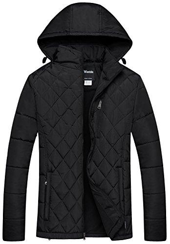 Wantdo Men's Hooded Puffer Coat Warm Windbreaker Outdoor Diamond Quilting Jacket Black X-Large