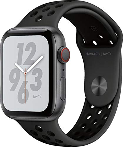 Apple Watch Series 4 (GPS+Cellular) Aluminum Case Unlocked Compatible with iPhone 5s and Above (Nike+ Edition Space Gray Aluminum Case with Anthracite/Black Nike+ Sport Band, 44mm)