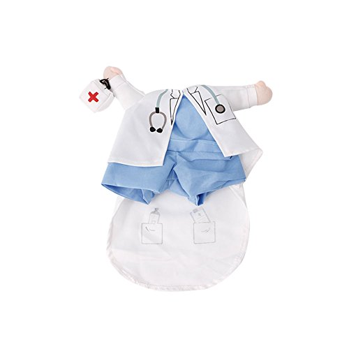 Delight eShop Funny Pet Costume Dog Cat Costume Clothes Dress Apparel Doctor Policeman Cowboy (M) (Funny Halloween Pet Costumes)