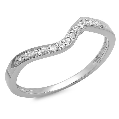 0.12 Carat (ctw) 14K White Gold Round Diamond Anniversary Wedding Stackable Band (Size 8.5) 0.12 Ct Natural