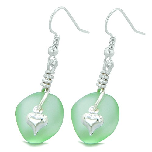 Twisted Twincies Cute Frosted Sea Glass Good Luck Heart Charms Mint Green Amulet ()