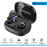 EANCRYS True Wireless Earbuds,IPX7 Waterproof Mini In-Ear Sports Earphones,Bluetooth 5.0 Touch Control Stereo Earbuds Compatible High Capacity 1600mAh Charging Case,Built-in Mic For Phones