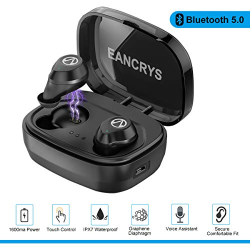 EANCRYS True Wireless Earbuds,IPX7 Waterproof Mini In-Ear Sports Earphones,Bluetooth 5.0 Touch Control Stereo Earbuds Compatible High Capacity 1600mAh Charging Case,Built-in Mic For Phones by EANCRYS