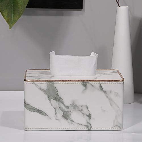 dise/ño de m/ármol blanco POFET Servilletero rectangular de piel para el hogar o la oficina