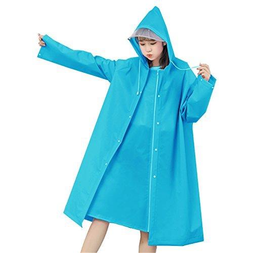 Gouler 레인 코트 자전거 레이디스 레인 포 친 고 완전 방수 경량 냄새(향기) 없음 사계절 통근 소매없는 비옷 배낭 대응 수납 가방 부착(블루와 핑크) (XL(신장170CM이상),블루)