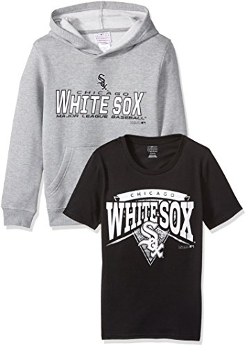 Outerstuff MLB Youth Boys 8-85 Chicago White Sox Tee & hood Set, Heather Grey, Youth Boys (Chicago Sox T-shirt)