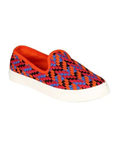 Misbehave CC09 Women Canvas Fabric Multi Color Plaid Flat Sneaker – Orange (Size: 8.5)
