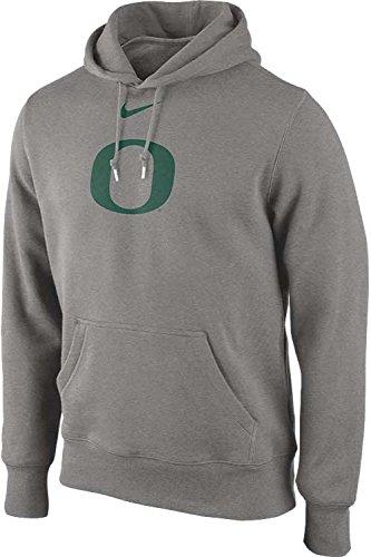 NIKE Oregon Ducks Men's College Classic Logo Fleece Pullover Hoodie (2XL, Heather Gray)