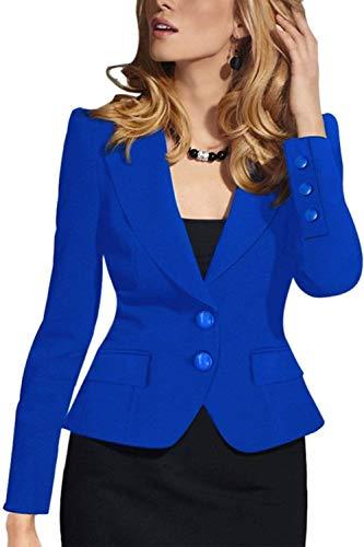 Prodotto Ufficio Con Donna Blu Business Primaverile Bavero Sottile Di Moda Scuro Grazioso Giacca Lunga Da Plus Blazer Manica Stlie Autunno Button Camicia Tailleur nxUOqqwIX