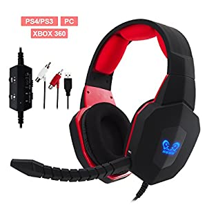 Winkona Premium Noise Cancelling Stereo Wired Gaming Headset/Headphones with Removable Mic For PS4 / PS3 / XBox 360 / Xbox one / PC (Compatible with XBox one via Microsoft Adpator )