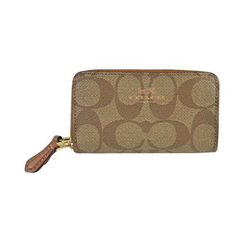 Coach business card holder amazon coach small signature pvc double zip coin case 63975 khaki saddle colourmoves