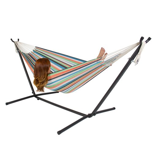 Double Hammock + Space Saving Steel Stand & Portable Carrying Case (Large Image)