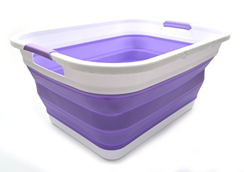 SAMMART Collapsible Plastic Laundry Basket - Foldable Pop Up Storage Container/Organizer - Portable Washing Tub - Space Saving Hamper/Basket (Rectangular, Lt. Purple)