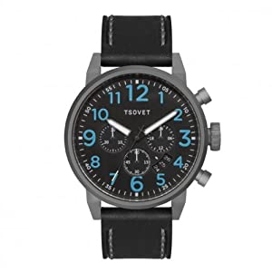 Tsovet Men's Silver w/ Blue/Black Dial, Black Leather Band Chronograph Watch JPT-TS44 (TS221010-57)