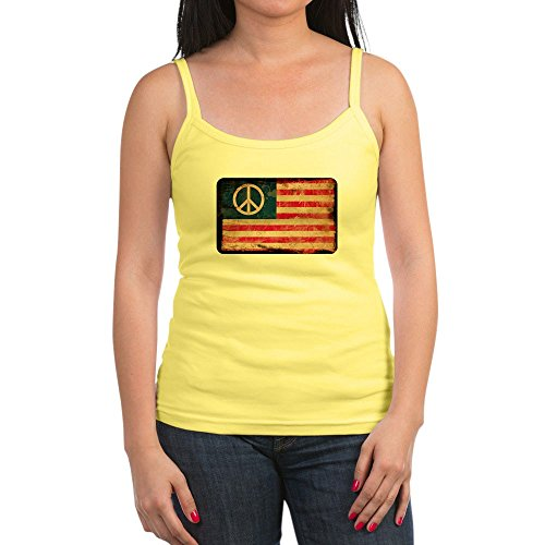 Royal Lion Jr. Spaghetti Tank Worn US Flag with Peace Symbol Sign - Lemon, Medium