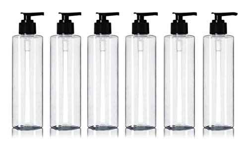 Newday Bottles, Empty Plastic Massage Lotion Bottles with Pump Dispenser BPA-Free (8 oz, Clear, Pack of 6)
