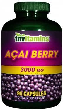 Acai Berry Powder Capsules 3000mg by TNVitamins 90 Count