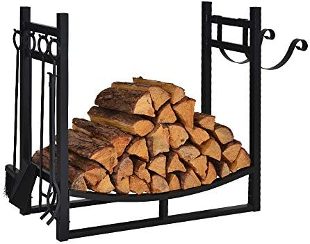Firewood Rack Indoor Outdoor w 4 Tools, 3ft Log Rack Fire Wood Holders Storage Carrier by Patio Guarder, Heavy Duty Steel Log Holder with Kindling Holder for Backyard Garden Firepit Fireplace, Black