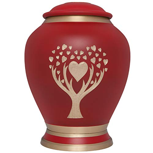 Red Cremation Urn with Hearts and Tree by Liliane Memorials - Urns for Human Ashes Remains - Brass - Suitable for Funeral Cemetery Burial or Niche - Large Size for ()