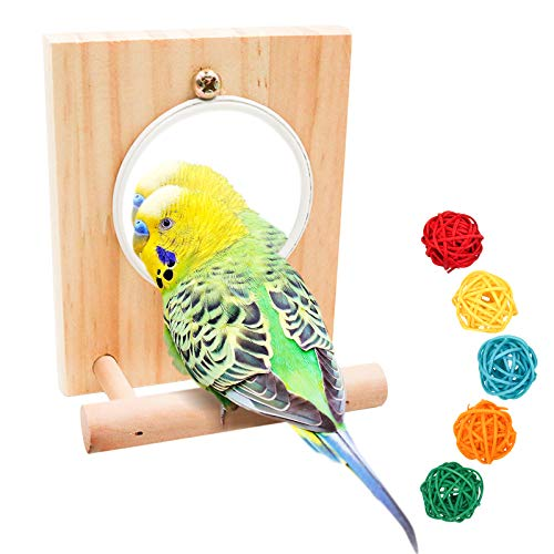 suruikei Bird Mirror Toy with Wooden Perch Stand, Birdcage Fun Platform Stand Toys for Macaws Lovebird Cockatoo Parakeet Conure Finch Cockatiels Bird Cage Accessories Wood Toy (Set 1)
