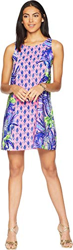 (Lilly Pulitzer Women's Jackie Silk Shift Dress Pink Sunset Pecking Order Engineered Small)
