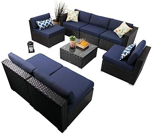 PHI VILLA Patio Furniture Set Outdoor Rattan Sectional Sofa with Tea Table 8 Piece, Blue
