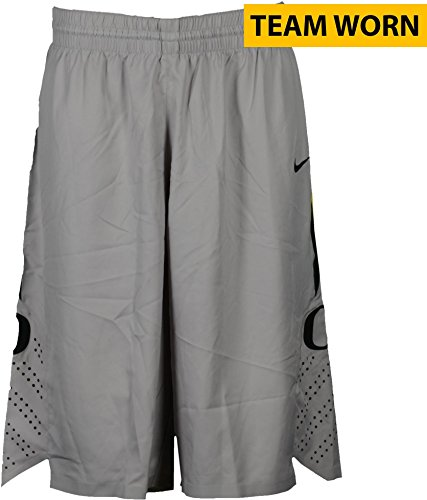 2013 Basketball Shorts (Oregon Ducks Team-Worn Men's Basketball Gray, Black, and Yellow Shorts Used Between The 2011-2016 Seasons - Size 42+2 - Fanatics Authentic Certified)