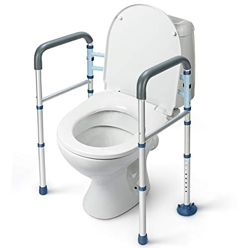 GreenChief Stand Alone Toilet Safety Rail with Free Grab Bar - Heavy Duty Toilet Safety Frame for Elderly, Handicap and Disabled - Adjustable Freestanding Toilet Handrails Helper, Fit Any Toilet