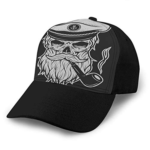 Adult Baseball Cap Captain Skull in A Hat with Beard and Tobacco Pipe Snapback Cap (Pipe Tobacco Virginia)