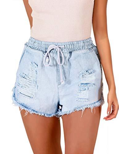 luvamia Women's Ripped Denim Jean Shorts Elastic Waist Drawstring Short Jean Pants Light Blue Size Large