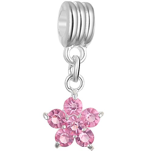 - RUBYCA 10Pcs Flower Dangle Pendant Charm Beads Crystal Rhinestone European Bracelet Light Rose Pink