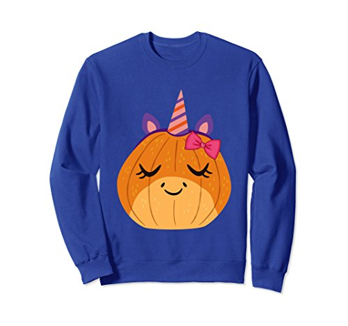 Unisex Unicorn Pumpkin Girl Sweatshirt XL: Royal Blue (Kids Pumpkin Sweatshirt)