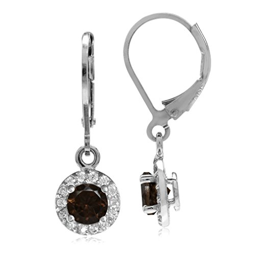 Natural Smoky Quartz & White CZ Gold Plated 925 Sterling Silver Halo Leverback Dangle Earrings