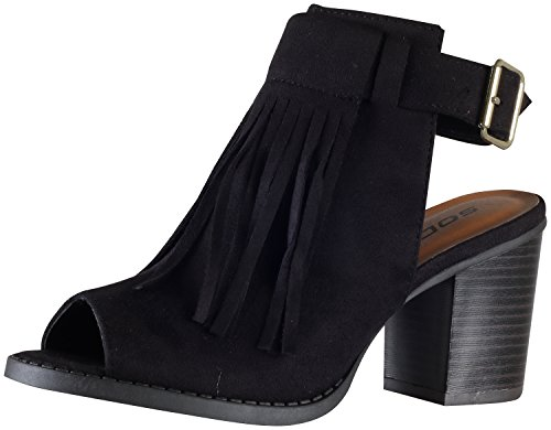 Soda Women's Oxford Fringe Tassel Peep Toe Buckle Slingback Bootie,Black,6 Peep Toe Wedge Heels