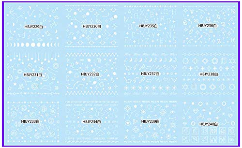 12 PCS/LOT SELF-Adhesive 3D Nail Tattoos Sticker White Black Gold Silver Sun Moon Star Galaxy Constellation HBJY229-240 HBJY229-240W