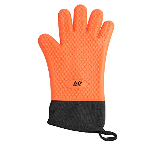 Design Bbq Mitt - BBQ Gloves Oven Mitts - Heat Resistant Grilling Gloves - Silicone Cooking Gloves - ColorfulLong Waterproof Mitts - Non-slip Silicone Gloves - Double Layer Design - Multipurpose Oven Mitts (Orange)