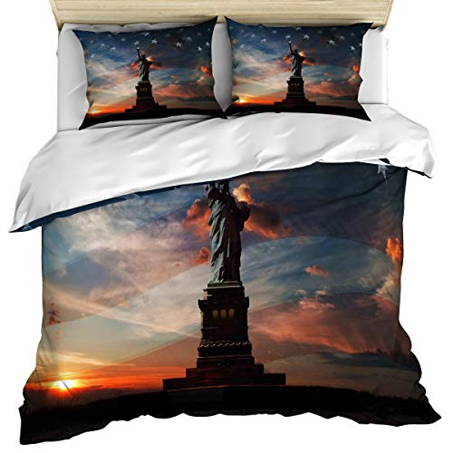 4th of July 3 Piece Bedding Set Comforter Cover King Size, Statue of Liberty United States Flag Patriotic Country,Duvet Cover Set Bedspread Daybed with Zipper Closure for -