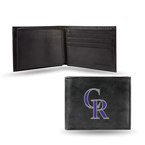 Colorado Rockies MLB Embroidered Team Logo Black Leather Bi-fold Wallet ()