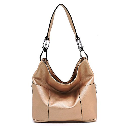 Bucket Purse Style (Americana Bucket Style Hobo Shoulder Bag with Big Snap Hook Hardware and Side Zipper Pocket)
